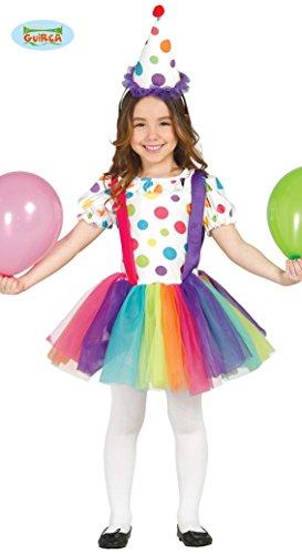 Imagen de disfraz de payasita arcoiris para niñas en varias tallas