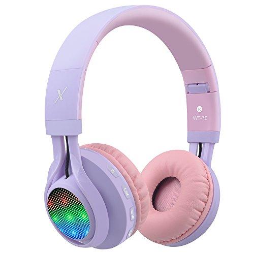 Riwbox WT-7S bluetooth - kopfhörer, führte lingt auf faltbaren stereo schnurlos - kopfhörer mit mikrofon und lautstärkeregelung für pc / iphone / ipad / tv (Violett Pink)
