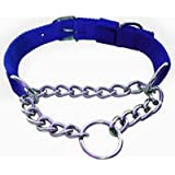 Pets Empire Dog Choke Pet Nylon Half Chain Collar For Large Breeds Half Choker Stainless Steel Dogs Collars 1 Piece Size -Large (Color May Vary)