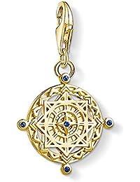 Thomas Sabo Unisex 925 Sterling Silver Charm Vintage Compass Charm Club Yellow Gold Plating Pendant 1662-922-39