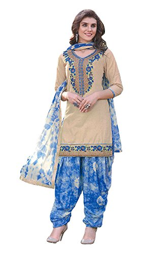 Kfashiondot_Patiala Suit Fabric Cotton (Unstitched Dress Material,Beige & Blue)