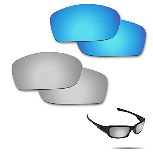fiskr anti-saltwater Polarisierte Ersatz Gläser für Oakley Fives Squared Sonnenbrille 2Paar verpackt, Ice Blue & Metallic Silver