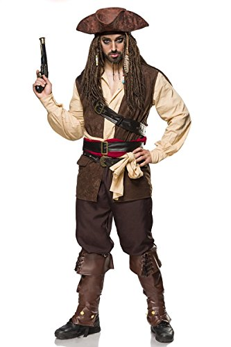 Pirate Herren Captain Kostüm - MASK PARADISE Kostümset Captain Jack