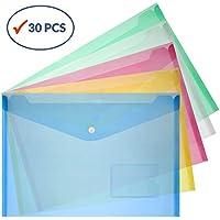 Fundas de plástico para documentos, de Subeco; tamaño A4, tipo sobre, color verde, azul y amarillo (30 unidades)