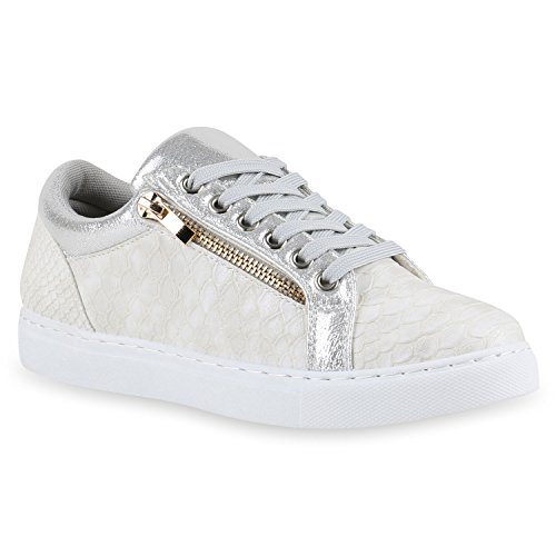 Moderne Damen Sneakers Lack Zipper Sportschuhe Freizeit Schuhe Silber Snake