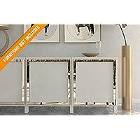 HomeArtDecor   Superposición Faro   Adecuado para IKEA Besta   Superposición de Alta Calidad   Color: PVC Blanco / Pintable, Espejo Dorado, Espejo Plateado, ...