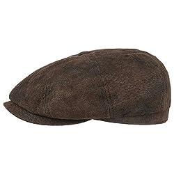 Stetson Hatteras Pigskin Flatcap Herren - Schirmmütze aus Leder - Schiebermütze mit Innenfutter - Mütze - Herrencap Sommer/Winter - Ballonmütze braun L (58-59 cm)
