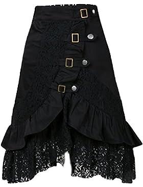 Falda Mujer Punk Rock Gótico Faldas De Encaje Asimétrico Falda