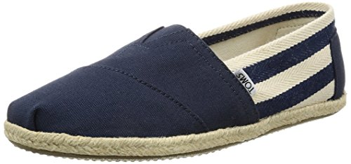TOMS Women's Canvas Classic Stripe Alpargata Low-Top Slippers, Blue (Navy Stripe University),...