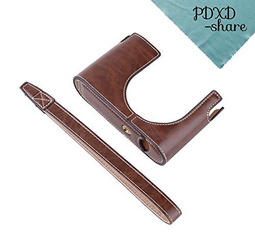 PDXD-share PU-Leder Halbkameratasche mit Handschlaufe für Leica Q Typ116 (Kaffee)