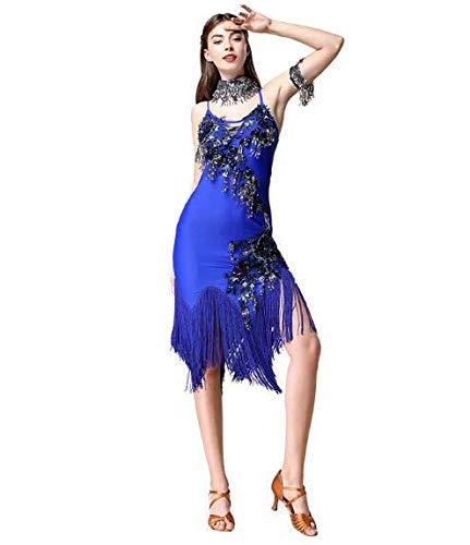Huaishu Women es New Latin Dance Costumes Adult Tassel Sequins Latin Clothes Four Seasons,Blue,M