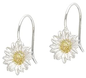 Dower & Hall Bloom - Sterling Silver & Yellow Gold Plated Daisy Drop Earrings