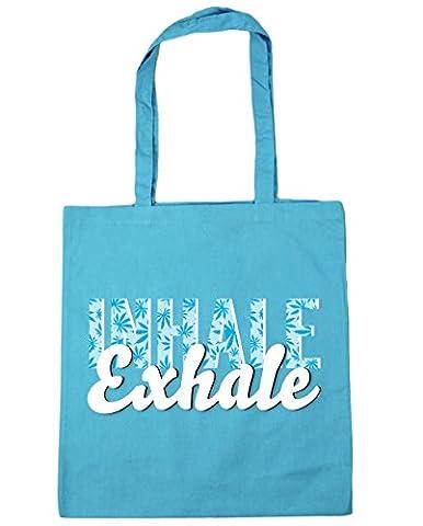 Hippowarehouse Inhale exhale (Blue) Tote Shopping Gym Beach Bag 42cm
