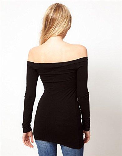 QIYUN.Z Femmes Hors De L'epaule Sexy Manches Longues Doux Sommets De Coton Noir Blouses Chemise Noir