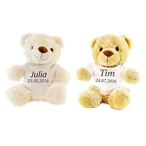 Preisvergleich Produktbild Weißer Stoff Teddy - Personalisiert mit Namen und Datum -Perfekte Geschenkidee - 30 CM großes Kuscheltier