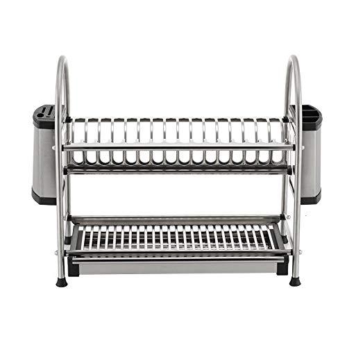 Dish drainer rack Geschirrabtropfgestell Küche Arbeitsplatte 2 Schicht Edelstahl Besteck Wäscheständer Multifunktionsgestell mit Tropfschale -