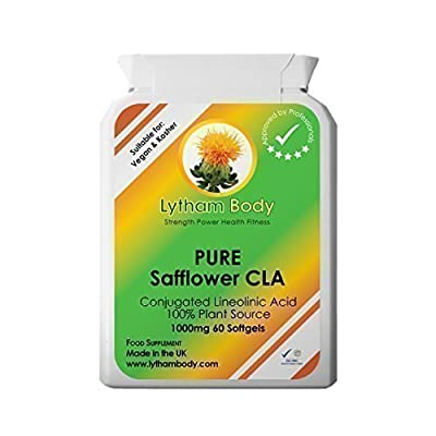 CLA, Conjugated Linoleic acid 1000 milligrams x 60 capsules pure plant source vegetarian, Vegan . Safflower oil.