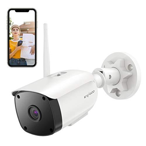 Überwachungskamera Aussen WLAN,CACAGOO WLAN IP Kamera Außenbereich IP66 Wasserfest mit Nachtsicht, Zwei-Wege-Audio, Bewegungserkennung,Unterstütze Alexa Und 128G SD