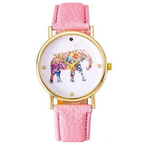 Reloj de pulsera para mujer Hipster Elefant cuarzo analógico festival de flores...