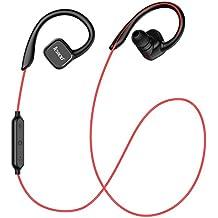 JESBOD QY13 Auriculares Eestéreo Bluetooth 4,1 para Correr Deportes Auricular con microfono para iPhone, Samsung, PC y otros Teléfonos Inteligentes - Manos Libres y Sensor Magnético - Color Negro & Rojo