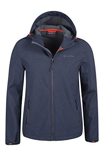 Mountain Warehouse Reykjavik Herren texturierte wasserabweisende Softshelljacke mantel outdoor Kapuzenjacke mantel warm bequem leicht Camping Marineblau Medium