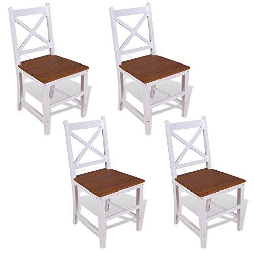 Lingjiushopping Lot de 4 chaises de salle à manger en teck massif en acajou Assise de composition : 100% en teck massif avec un cadre à huile et de finition rustique, jambe et dossier Composition : 100% bois d'acajou massif avec une finition peinture blanche