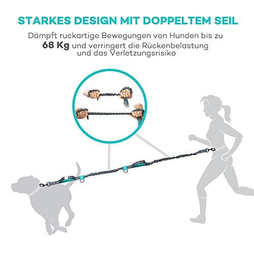 Freihand Hundeleine Doppelleine TaoTronics zum Hunde Joggen, Spazieren, Wandern Radfahren - Hände Frei Trainings-Gürtel mit doppeltem Gummiseil und Haltegriff für alle größe und kleine Hunde -