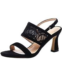 Damen Catxay 1CM Flach Schnalle Sandalen Schuhe, Schwarz, 36.5 Calaier
