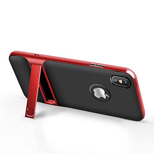 BCIT iPhone 8 Custodia - ibrida Morbido resistente agli urti + Bumper Frame Dual Layer Case con Supporto di protezione per iPhone 8 - Grigio Rosso