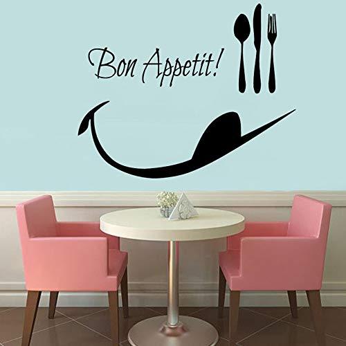Guten Appetit Löffel Folk Wandaufkleber Dekor Abnehmbare Vinyl Wandtattoos Wasserdichte Küche Dekoration 73x59 cm -