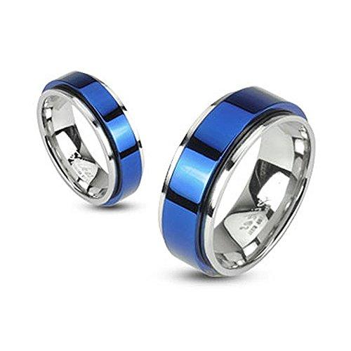 Autiga Herren Damen Edelstahl Ring Drehring Spinner Spinning Schwarz Gold Blau IP blau-silber 67 - Ø 21,39 mm 8 mm