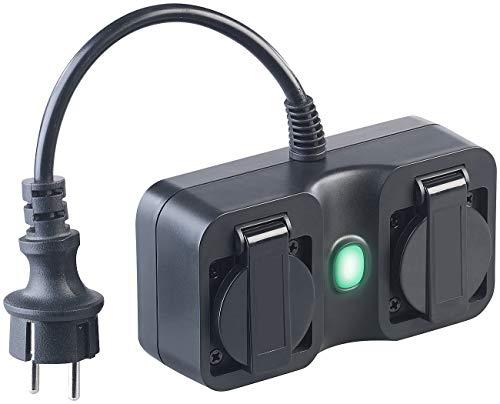 Luminea Home Control Alexa-Außensteckdose: Outdoor-WLAN-2-fach-Steckdose komp. zu Amazon Alexa & Google Assistant (WLAN-Steckdosen IP44)