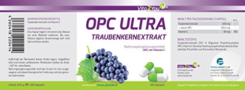 Vita2You OPC Ultra Grape seed extract 600mg per capsule – with vitamin C from Acerola – 120 capsules – Highly dosed – 4 month pack – Premium Quality