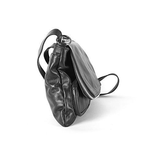 Oh My Bag - Borsa a mano o tracolla, in pelle italiana, modello Avril nero