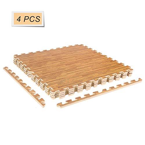 CCLIFE 60x60x1,2 cm 4er 8er 16er Bodenschutzmatte Schutzmatte Fitness Unterlegmatten, Farbe:Holzoptik 4pc