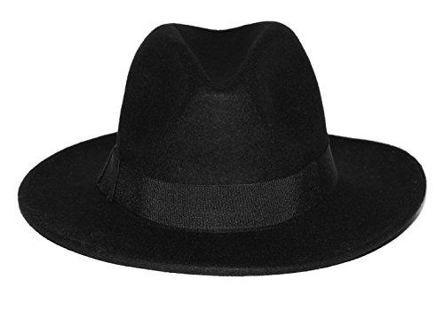 Billig Herren Fedora Hüte - Accessoryo - Unisex-Schwarz-Fedora-Hut mit schwarzem Zier-