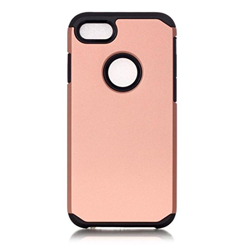 Koly De alta calidad PC + TPU caso de la cubierta de piel para el iPhone 7 Plus de 5.5 pulgadas,de oro rosa