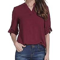 Damen Tshirt,Geili Frauen Damen Casual Langarm Chiffon Solide V-Ausschnitt Bluse Pullover Tops T Shirt Bürodame... preisvergleich bei billige-tabletten.eu