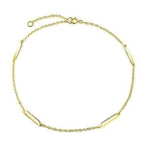Einfache Bar Und Kette Fußkettchen Charm Armband Für Damen 14K Vergoldet Sterling Silber 925 9-10 Zoll