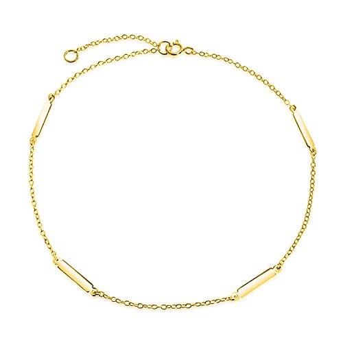 Einfache Einfache Bar Und Kette Fußkettchen Charm Armband Für Damen 14K Vergoldet Sterling Silber 925 9-10 Zoll (14-karat Gold Charm Bracelet)