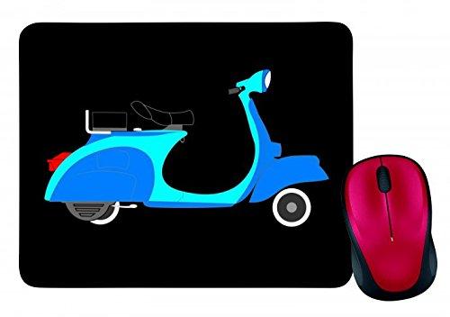 """Mauspad """"MOTORROLLER- BLAU- ZWEIRAD- FAHRZEUG- VERKEHR- MOBIKE- SLOGAN AUFKLEBER- SOZIUS- SITZ- GRIFF- RAD"""" in Schwarz   Mousepad - Mausmatte - Computer Pad - Mauspad mit Motiv"""