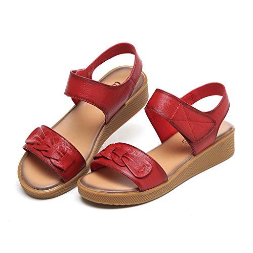 ZCJB Sandales Maman Sandales Femelle D'été Fond Plat D'âge Moyen En Cuir Fond Souple Non-slip Femmes Enceintes Chaussures