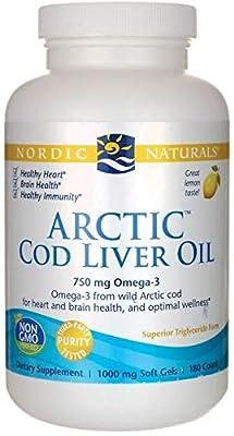 Nordic Naturals Arctic Cod Liver Oil, Lemon Softgels, 750 mg, Pack of 90 Capsules