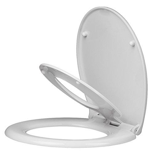 Homitex WC-Sitz, für die Familie, mit integriertem Kindersitz, für Kinder/Erwachsene, mit Absenkautomatik und Quick-Release-Scharnieren