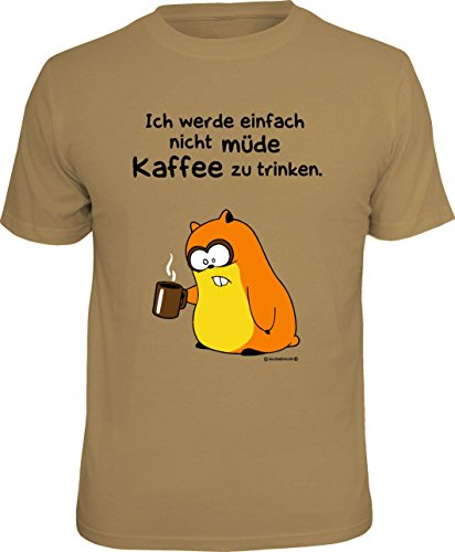lustiges Damen Herren Fun T-Shirt im Set mit MiniShirt Kaffee trinken, ideal als Geschenk, Farbe sand Sand