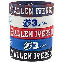 Lorh's store NBA Basketball Allen Iverson Porträt Armband Nummer 3 Silikon Inspirierende Wort Sport Schweißbänder 5 Pcs