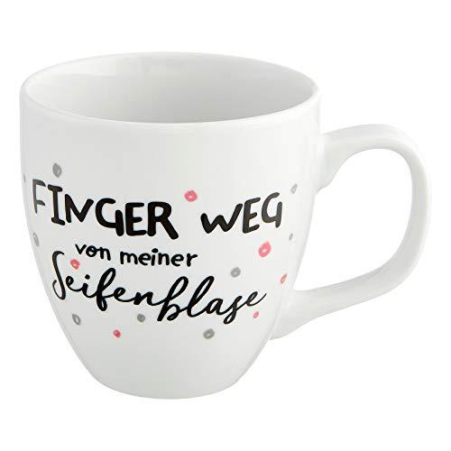 Him & I® - Jumbo Tasse mit Spruch Finger weg von meiner Seifenblase - 9,5 cm - 0,45 l - Porzellan Tasse groß - Kaffeetasse - Kaffeebecher - Geschenk Idee für beste Freundin, Mama, Schwester & Kollegin