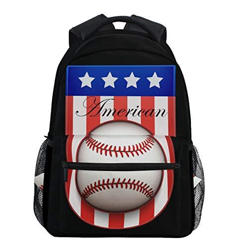 Oarencol American Flag Baseball Badge Label Rucksäcke USA Softball Schule Reise Buch College Schultertasche für Frauen Mädchen Männer Jungen (Softball-rucksäcke)