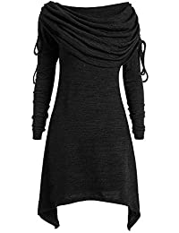 Belasdla Mujer Elegante Manga Larga Color SóLido SóLido Pliegues Largos Collar Plegable Larga SeccióN OtoñO E Invierno Escudo Top Camiseta
