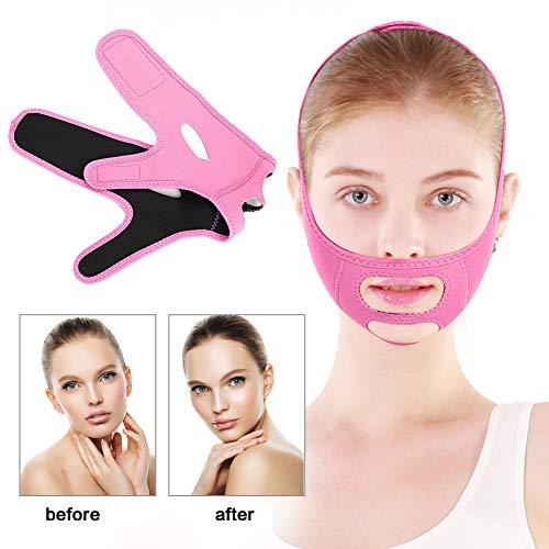 Gesicht Abnehmen Maske, Facial Slimming Binden V-face Linie Gürtel Reducer und Anti Falten Gesichtspflege Kompakt(Rosa) -